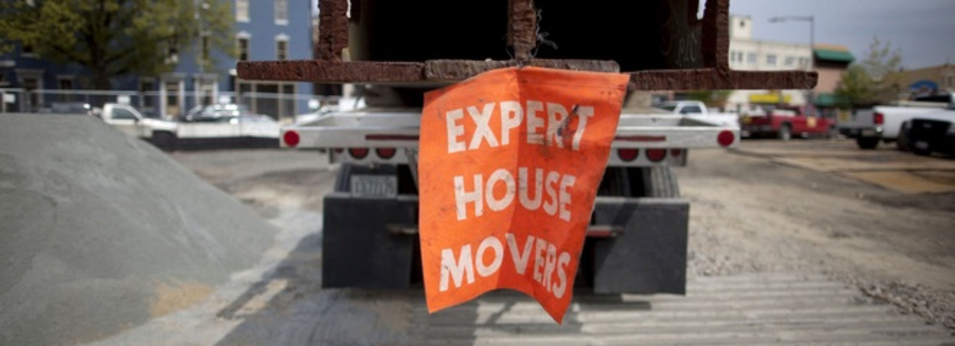 truck with a banner hanging out